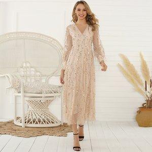 Prized Popular Fashion Gold Color V-Neck Long Sleeve Dress Sequin Decoration Tassel Backless Women's Long Dress