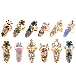 12Pcs Lot Nail Ring Fashion Jewelry Butterfly Glamour Crown Flower Crystal Finger Art Decoration Ring Ladies Rhinestone Nail Pro