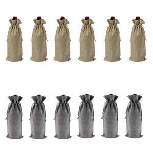 12Pcs Sacos de vinho duráveis Burlap Tinto Garrafa De Vinho Saco De Vidro Bolsa De Viagem Presente Casamentos Festa Reutilizável casamentos Saco De Embalagem
