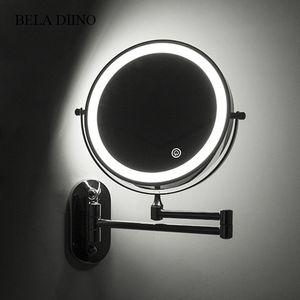 """8"""" trucco leggero ingrandimento dello specchio del LED 10x pieghevole touch screen Bagno rasatura fissato al muro Specchio luminoso T200114"""