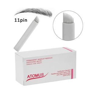 100 pcs agulhas de microblading 11pinas 9 12 14 21Pin Agujas Microblading laminas para Tebori Pen Bordado Uso para Pernement Maquiagem Sobrancelha