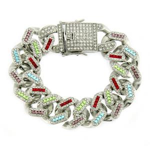 Хип-хоп Bling ледяной Майами кубинский цепь полный 3a Кристалл красочные проложить мужской браслет серебряный цвет браслеты для мужчин ювелирные изделия подарки