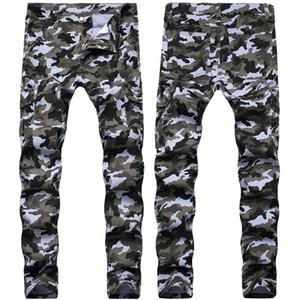 Mens Jeans Moda calças de camuflagem Macacões Projeto do bolso do estiramento Calças Moto Jeans Washed Denim calças compridas Calças Lápis
