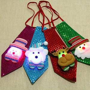Рождество LED галстука пришивания Санта-Клаус медведь Снеговик Elk галстука Glow Мультфильм Tie для детей Kids Xmas Party Decoration