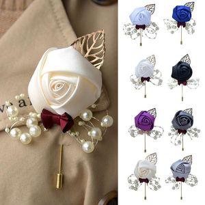 Epoux de mariage Broche fleur artificielle feuille coréenne style Tissu Bijoux Corsage Cérémonie de mariage Pin Boutonnière