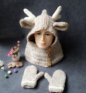 Neonate Inverno Natale Cappello sciarpa + guanti del fumetto dei capretti dei cervi a maglia in nazionale Guanti Warmer con cappuccio Sciarpa Cappello EEA582