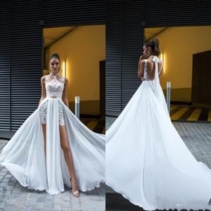 2020 novo barato vestido de novia plus size modesto chique boêmio primavera verão praia vestidos de casamento destacável saia vestidos de noiva de renda