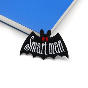 2pcs lot Funny Terror Halloween Smart Man Black Bat Embroidery Patch for Clothes Iron on Patches Applique Diy Accessories SC4358