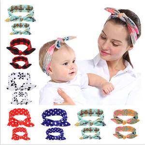 Мать младенца оголовьем Set Тюрбан мама дочь Rabbit Ears Упругие ободки плед цветок узел Headwrap диапазона волос Headwear Устанавливает цвет 6 D3509