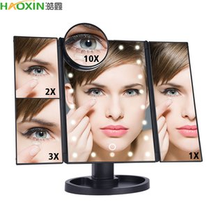 HaoXin LED Touch Screen 22 Light Makeup Mirror Table Desktop Makeup 1X 2X 3X 10X Magnifying Mirrors Vanity 3 Folding Adjustable Mirror