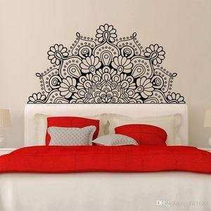 Hot Sales Mandala Décoration Chevet Wall Sticker Lotus Poster Art Bohème Chambre de chevet décalque de vinyle étanche amovible murale