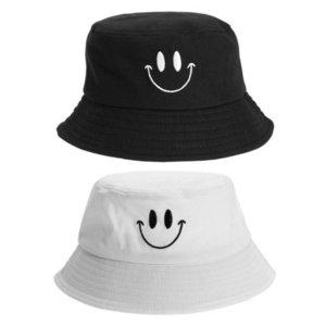 Sonrisa de las mujeres de la cara del bordado del sombrero del cubo al aire libre Pesca protección solar del sombrero del cubo