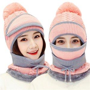 Осень Зима Женская шляпка шапки Вязаные Шерсть Теплый шарф наборы Толстые ветрозащитный Балаклава Многофункциональность Hat шарф набор для женщин