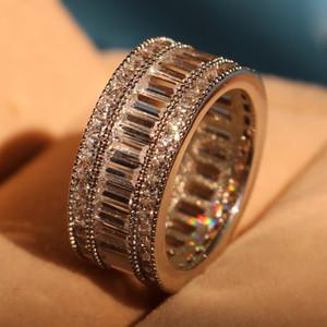 JCH Princesa cortar branco Topaz Diamonique simulada diamante 10KT White Gold Filled acoplamento do casamento banda anel tamanho 6-9 K5740