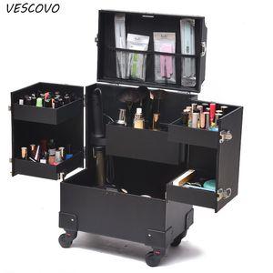 Caso cosmético Profesión VESCOVO Maleta para la mujer MakeupTrolley Box Uñas Belleza equipaje de viaje Bolsa de Cosméticos Con Ruedas