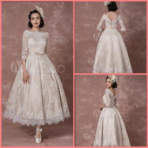 Robe de mariage champagne lace uma linha curto vestido de noiva tornozelo comprimento informal meninas petite corset meia manga vestidos de casamento best selling