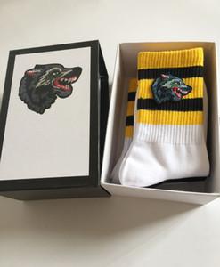 4 Çift / Kutu Hayvan Kafası Sıcak Satış Erkek Çorap Dört Pairs Moda Spor Çorap Kurt Nakış Eğlence Pamuk Adam Çorap Hediye Kutusu Seti