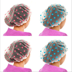 Free shipping 5PC dot waterproof shower cap thickening ladies shower cap color random send