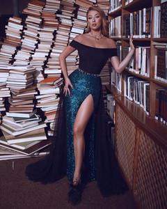 Sexy Mermaid Prom Dresse spalle manica corta Satin Abito da Spalato Paillettes telaio della festa sweep treno abiti de soirée