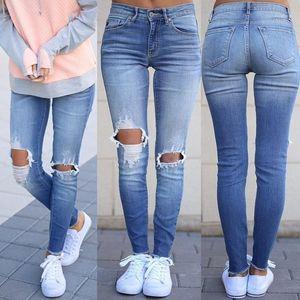 Fashion Watched Blue Pencil Pants Casual Autumn High Waist Denim Pants Designer Knee Holes Womens Jeans