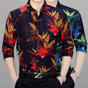 New 2020 autumn mens flowers printing dress shirts long sleeve casual male floral clothes free shipping