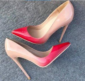وأشار أحمر التدرج المرأة أحمر سوليد وأشار غرامة الكعب أحذية عالية الكعب واحدة أحذية حجم كبير 44 ارتفاع كعب 8CM 10CM 12CM زفاف العروس