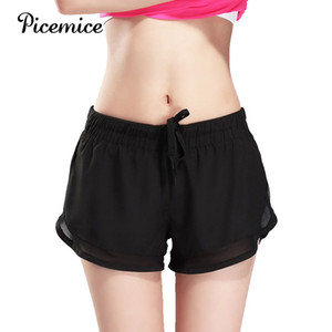 "Picemice 2020 Femmes Sports 3"" Running Shorts Tether rapide formation active à sec exercice Jogging 2 en 1 Shorts Yoga Mesh Sexy"
