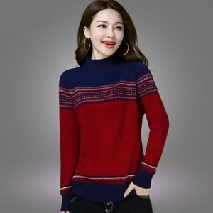 Female 2020 Winter Turtle Neck Pullovers Women Knitted Pull Sweaters Long Sleeve Warm Pullover Jumper Ladies Striped Sweater