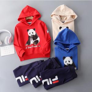 2020 New Kids Hooded Sweater Set Children Brand Outdoor Sportswear Panda Print Hoodie High Quality Pants Boy Girl Cotton Hoodie + Pants 2pcs