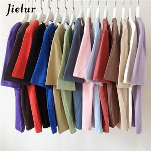 Jielur Tee Shirt 15 Solid Color Basic T Shirt Women Casual O-neck Harajuku Summer Top Korean Hipster White Tshirt S-XL CX200530