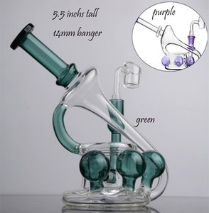 5.5 Inchs Purple Bong Smoking Glass Pipes Oil Rigs Water Bongs Heady Glass Water Bongs Hookahs With 14mm Banger