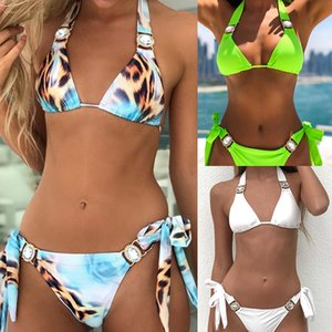2020 new fashion swimsuit with diamond bikini leopard print sexy swimsuit bandage strap swimsuit