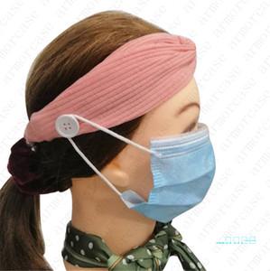 Las vendas de la mujer sólido elástico Cruz Hairwrap con máscaras Botón Correr gimnasio de deportes Hairbands Headwear Sweat Hairlace Accesorios D42802
