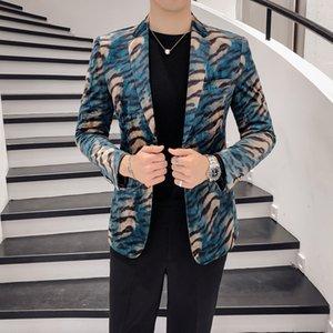 Men Suit Tuxedo for Wedding Dress Blazer Leopard Velvet Fabric Design Boutique Stage Acting Singer Host Fashion Show Men's Suit