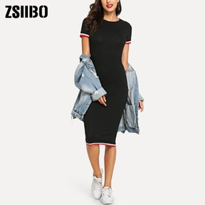 Vestidos Verão Feminino Body Fit em torno do pescoço do joelho Bag Hip Temperamento Bodycon Mulheres Dress Roupas Roupas Dropshipping