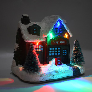 High Quality Workmanship Christmas Figurines European American Festival Home Decorations Glowing Small House for Christmas Gift