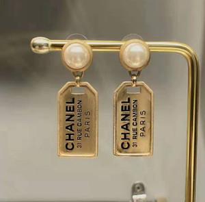 패션 18K 골드는 여자 여성 패션 파티 보석 선물 CZ 편지 태그 귀걸이 고급 디자이너 쥬얼리 여성 귀걸이를 도금