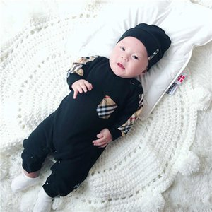 Ins ilkbahar ve sonbahar bebek bodysuit giyim örgü pamuk gelgit ekose dikiş yapışık giysiler bebek romper uzun kollu çanta osuruk