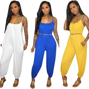 women pure color sexy club jumpsuits wear sling boho jumpsuitamp rompers floral set jump suit ladies elegant overalls for