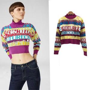 2019 otoño e invierno nuevo color jacquard letras inglesas suéter de cuello medio suéter corto camisa de mujer6588