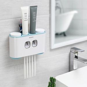 Wandmontage Zahnbürstenhalter Auto quetschen Zahnpasta Dispenser Zahnbürste Zahnpasta Cup Lagerung Badezimmer Zubehör-Set Badezimmer Lagerung