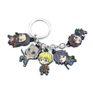 Anime Demon Slayer Kamado Tanjirou Pendant Keychains Caroon Stove Door Tanjiro Keyrings Jewelry Gift For Friends Children
