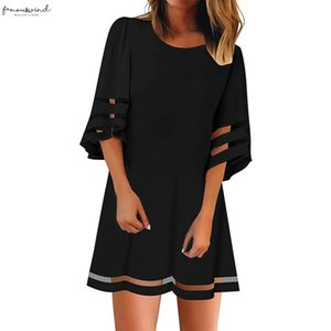 Womens O Neck Mesh Panel Blouse 3 4 Bell Sleeve Loose Top Shirt Dress Plus Size Three Quarter Sleeve Dress