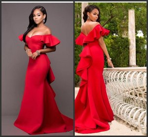 Gorgeous Red Off Shoulder Prom Dresses 2019 New Satin Backless Mermaid Evening Gowns Saudi Arabia Ruched Sweep Train Formal Party Dress
