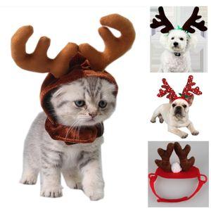 Cappello di natale Pet Dog Pet Reindeer fascia Decorazione natalizia Puppy Puppy costume Accessori DHL nave 5 stili HH9-2462