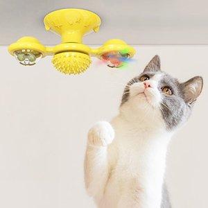 Envío de DHL !!! Productos para Mascotas Gatos Juguetes Puzzle Volviendo molino de viento de juguete de la placa giratoria burlas Tickle Gatos Brushs Hair Play Cat Juego Suministros FY2052