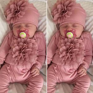 2PCS Nouveau-né bébé fille 0-18m Vêtements 3D Fleur Romper Jumpsuit Chapeau Outfit Ensemble grenouillère pour bébé avec serre-tête d'une pièce