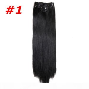 L 5pcs Set Clip In Hair Extensions Synthetic Straight Hair Pieces 22inch 130g Clip On Hair More Color D1020