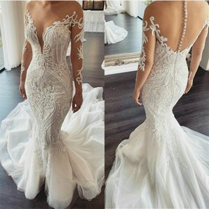 2020 Floral Mermaid Wedding Dresses Jewel Long Sleeves Sheer Appliqued Lace Bridal Gown SweepTrain Custom Made Wedding Gown Cheap