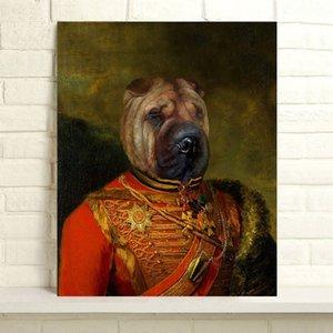 Handbemalte Thierry Poncelet Ölgemälde Hauptdekor-Wand-Kunst auf Leinwand Allgemeinen Shar Pei 24x30inch Unframed